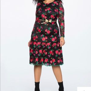 Eloquii red floral embroidered lace trumpet dress